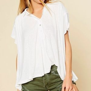 NWT Free People Low Down Henley Linen Ivory Top M